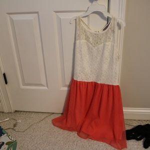 Lace Top & Orange/pink polka dot dress